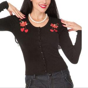 Embroidered Cherries Retro Black Cardigan Sweater